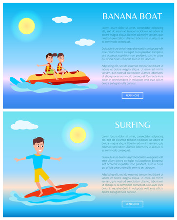 Banana Boat and Surfing Summer Sport Activity Web