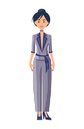 Model in Elegance Suit, Color Vector Illustration