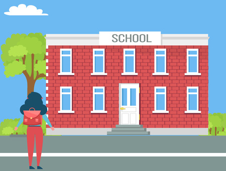 School Two-Storey Building and Girl with Backpack Illustration