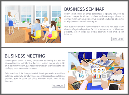 Business Seminar Web Pages Set Vector Illustration