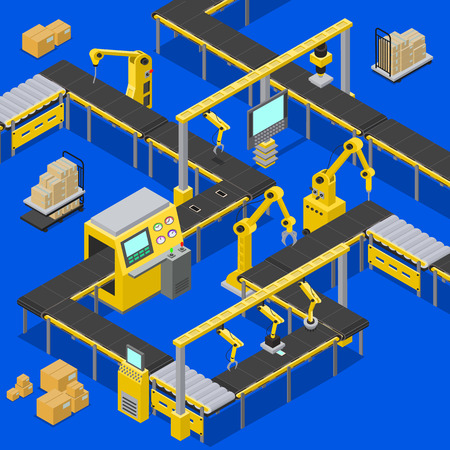 Computers and production line, boxes creation, screens with pointers sowing information about process of work, machinery set, vector illustration