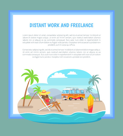 Distant Work and Freelance Poster Freelancer Woman Stock Vector - 109356856