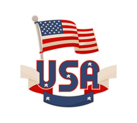 USA National Symbols Vector Color Illustration