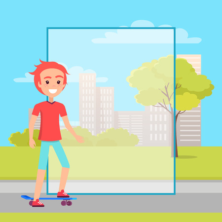 Skater and filling form, skyscraper buildings on backdrop, young skateboarder moving o flat road near trees, vector skateboarding sport activity poster Çizim