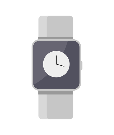 Smart watches mockup color vector illustration isolated on bright backdrop clocks with display under special glasses, device with one control button Illustration