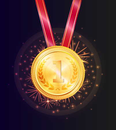 Shiny Honorable Gold Medal for First Place Win Illustration