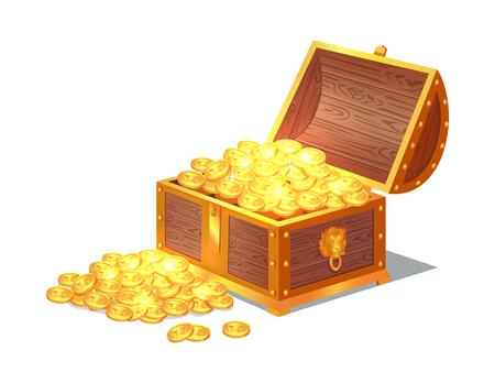 Monedas antiguas de oro brillante en viejo cofre de madera abierto. Tesoros preciosos en caja pesada. Dinero medieval escondido en la ilustración de vector de contenedor sólido