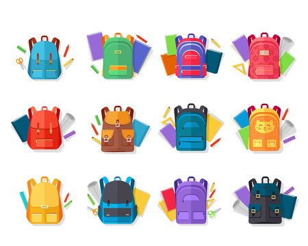 Colorful Backpacks Flat Vectors Collection Vectores