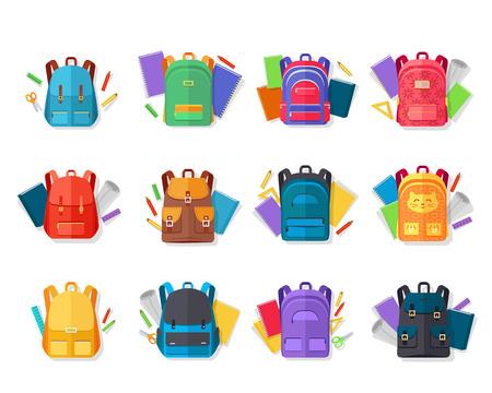 Collection de vecteurs plats de sacs à dos colorés