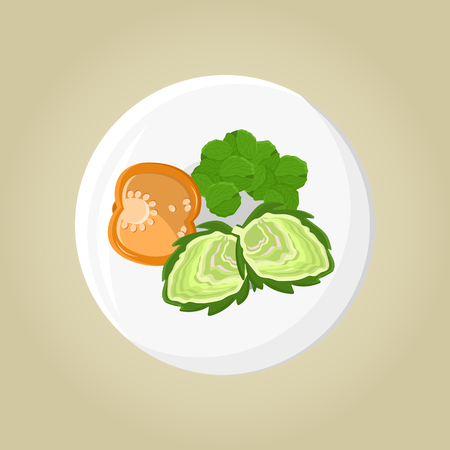 Plate of pepper and greenery, vegetables near salad with lettuce, organic products put together food set vector illustration isolated on grey background. Standard-Bild - 109091783