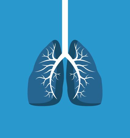 Banner de imagen de pulmones aislado sobre fondo azul.