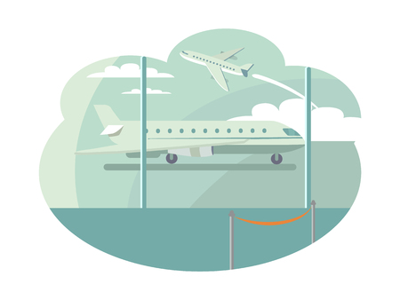Airport Transportation Set Vector Illustration