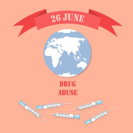 26 June Drug Abuse Poster with Empty Syringe World Ilustração