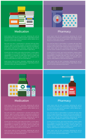 Medication and Pharmacy Vertical Promo Posters Set