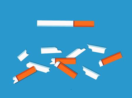 No tobacco cigarettes collection, danger because of addiction of people, broken pieces smoking habbits vector illustration isolated on blue background Stockfoto - 109095442