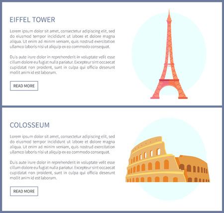 Eiffel Tower and Colosseum Vector Illustration Ilustração