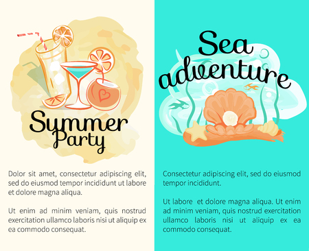 Summer Party Sea Adventures Banners with Cocktails