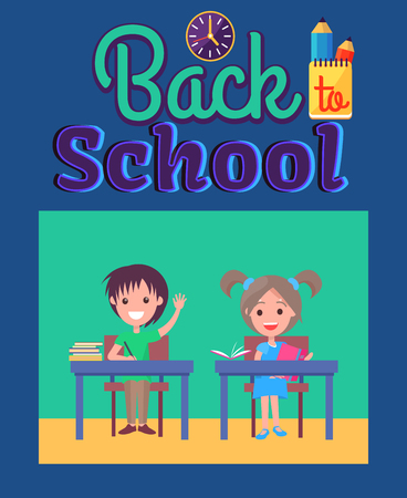 Back to School Poster with Inscription and Clock