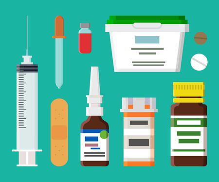 Syringe Containers Collection Vector Illustration Stock Photo