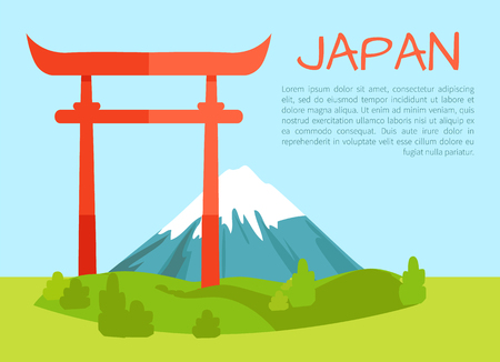 Torii Gate Poster and Text Vector Illustration