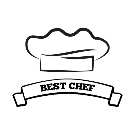 Best Chef Black and White Emblem with Hat and Sign