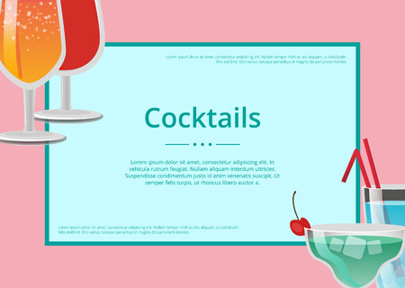 Cocktails poster with refreshing summertime drinks, advertisement leaflet tropical alcohol beverage decorated by fruits and straws vector, frame for text