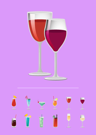 Alcohol drinks flat vector icons glass cocktails. List of beverages, choose refreshing alcoholic poster design, menu cover with cocktail choice