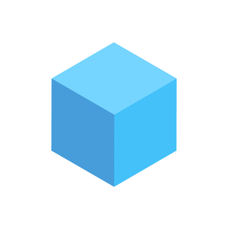 Blue Cuboid Isolated Geometric Figure Pattern Icon Çizim