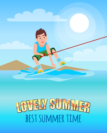 Love summer best summertime kitesurfing sport activity, sure boy holding hoop and standing on board, kite surfer male, vector with coastline backdrop. Иллюстрация