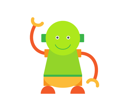 Humanoid Smiling and Waving Vector Illustration