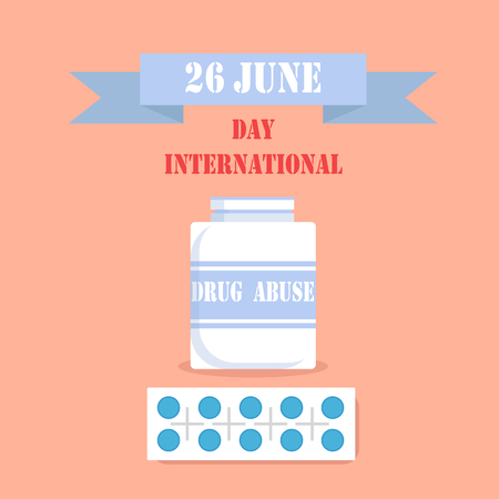 International Day of Drag Abuse 26 June Poster Ilustrace