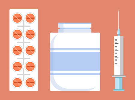 Pill Strip and Container, Vector Illustration