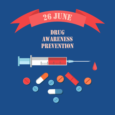 Drug Awareness and Prevention Day 26 June Banner Çizim