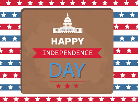 Happy Independence day poster Washington capitol, stripes and stars on backdrop. Old world famous architectural attraction vector greeting card design Çizim