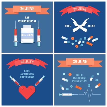 International Day Against Drug Posters Vector