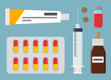 Pharmacy Medical Items Set Vector Illustration