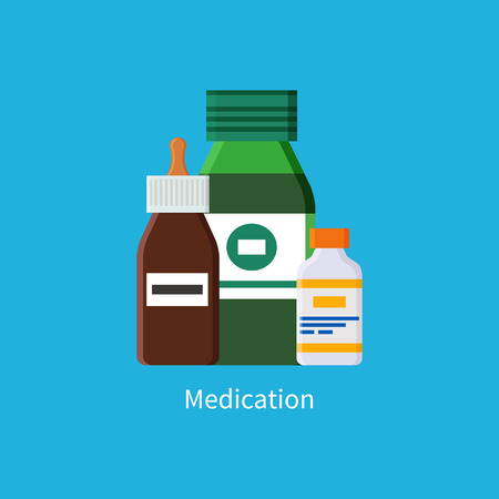 Medication promo banner with jars of liquids. Syrup and vaccines in bottles that have tight covers commercial poster isolated vector illustration. Illustration