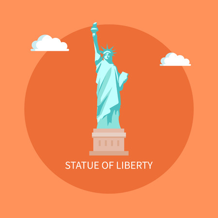 American enormous Statue of Liberty on cubic stand. Monument represented by woman in crown with torch and parchment isolated flat vector in circle Stock Illustratie