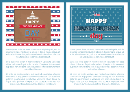 Happy Independence day posters set Washington capitol and national flag. Greeting cards design world famous architectural attraction vector, text sample