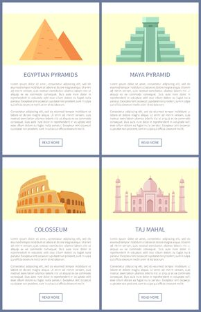 Egyptian Pyramids Colosseum Vector Illustration