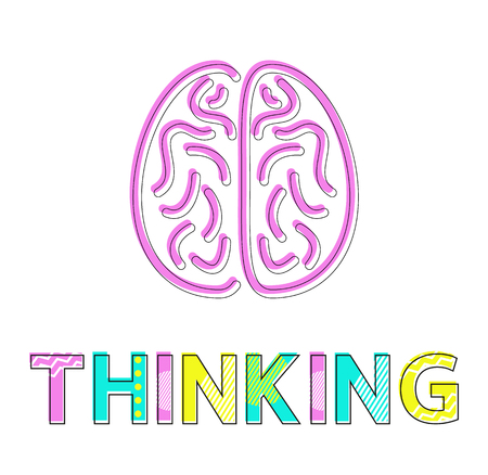 Thinking Process and Brain Icon Colorful Card