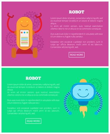 Robot internet pages collection, modern bots types and emotions, fire with smile on squared screen, isolated cartoon flat vector illustrations set. Illustration