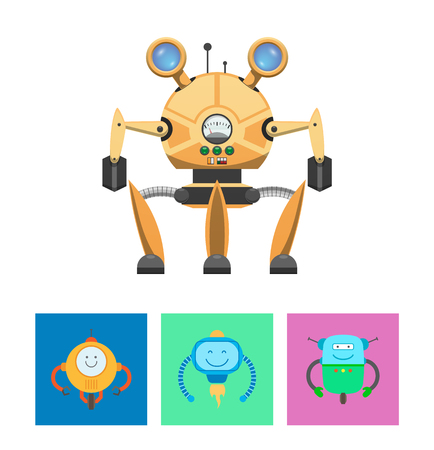 Smart Robots and Intellect Vector Illustration