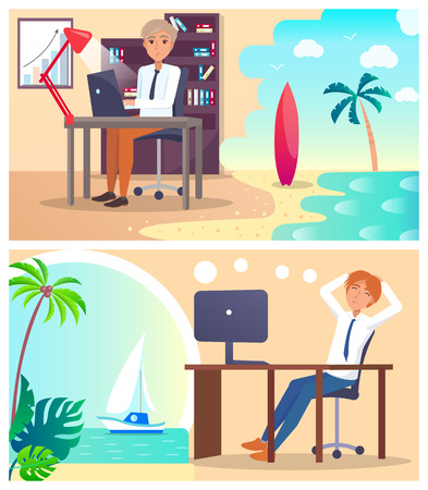 Office Workers Daydream about Vacation Abroad Set 向量圖像