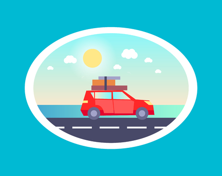 Sedan car with luggages on top going to rest vector illustration of transport vehicle on road on background of blue sky in oval frame isolated blue.