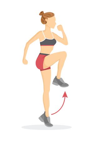 Las rodillas altas ejercitan a la mujer tabata haciendo fitness, puntero y flecha que muestra la dirección correcta, ilustración vectorial de dibujos animados aislado sobre fondo blanco.