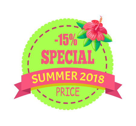 Special Price Summer 2018 Emblem with Hibiscus Ilustracja