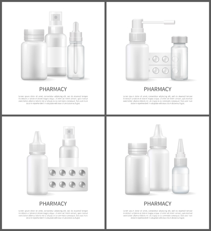 Pharmacy Posters Text Sample Vector Illustration