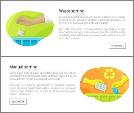 Waste and Manual Sorting Set Vector Illustration