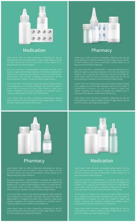 Pharmacy and Medication Set Web Posters Containers Vektoros illusztráció